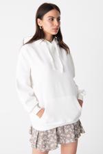 Bayan Beyaz Kapüşonlu Sweatshirt