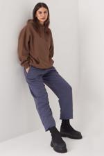Bayan Kahverengi Kapüşonlu Sweatshirt