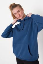 Bayan Mavi Kapüşonlu Sweatshirt