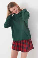 Bayan Yeşil Kapşonlu Sweat