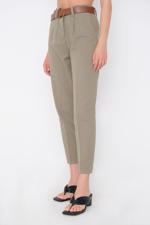 Bayan Yeşil Kemerli Pantolon