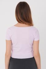 Bayan Mor Çıtçıt Detaylı T-shirt P0867 -
