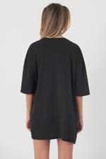 Bayan Gri Yazı Detaylı Oversize T-shirt