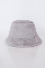Bayan Gri Yumuşak Dokulu Bucket Şapka