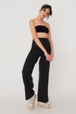 Bayan Siyah Cep Detaylı Bol Pantolon