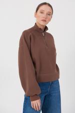 Bayan Kahverengi Fermuar Detaylı Sweatshirt
