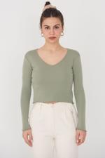 Bayan Yeşil V Yaka Bluz