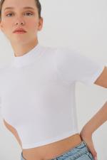 Bayan Beyaz Kısa Kollu Bluz