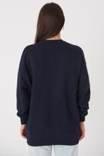Bayan Lacivert Yazı Detaylı Sweatshirt