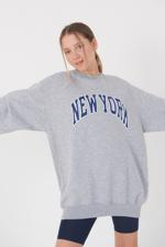 Bayan Gri Yazı Detaylı Sweatshirt