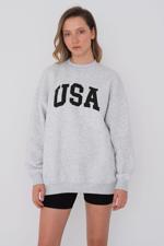 Bayan Bej Baskılı Sweatshirt