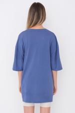 Bayan Mavi Baskılı Oversize T-shirt