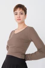 Bayan Kahverengi Fitilli Bluz