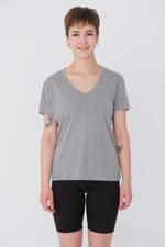 Bayan Gri V Yaka Basic T-shirt