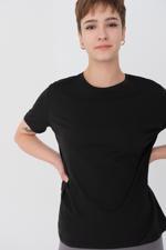 Bayan Siyah Bisiklet Yaka Basic T-shirt