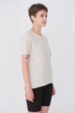Bayan Bej Bisiklet Yaka Basic T-shirt