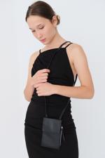 Bayan Siyah Telefon Bölmeli Cüzdan Çantası