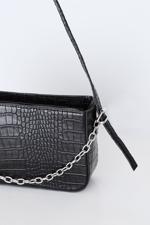 Bayan Siyah Zincir Detaylı Askılı Çanta