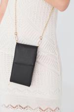 Bayan Siyah Askılı Cep Telefonu Çantası