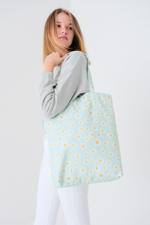 Bayan Yeşil Papatya Desenli Çanta