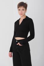 Bayan Siyah Uzun Kollu Bluz