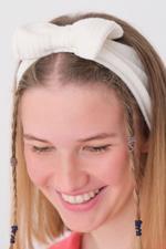 Bayan Beyaz Fiyonk Saç Bandı