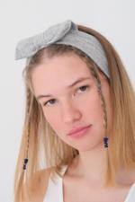 Bayan Gri Fiyonk Saç Bandı