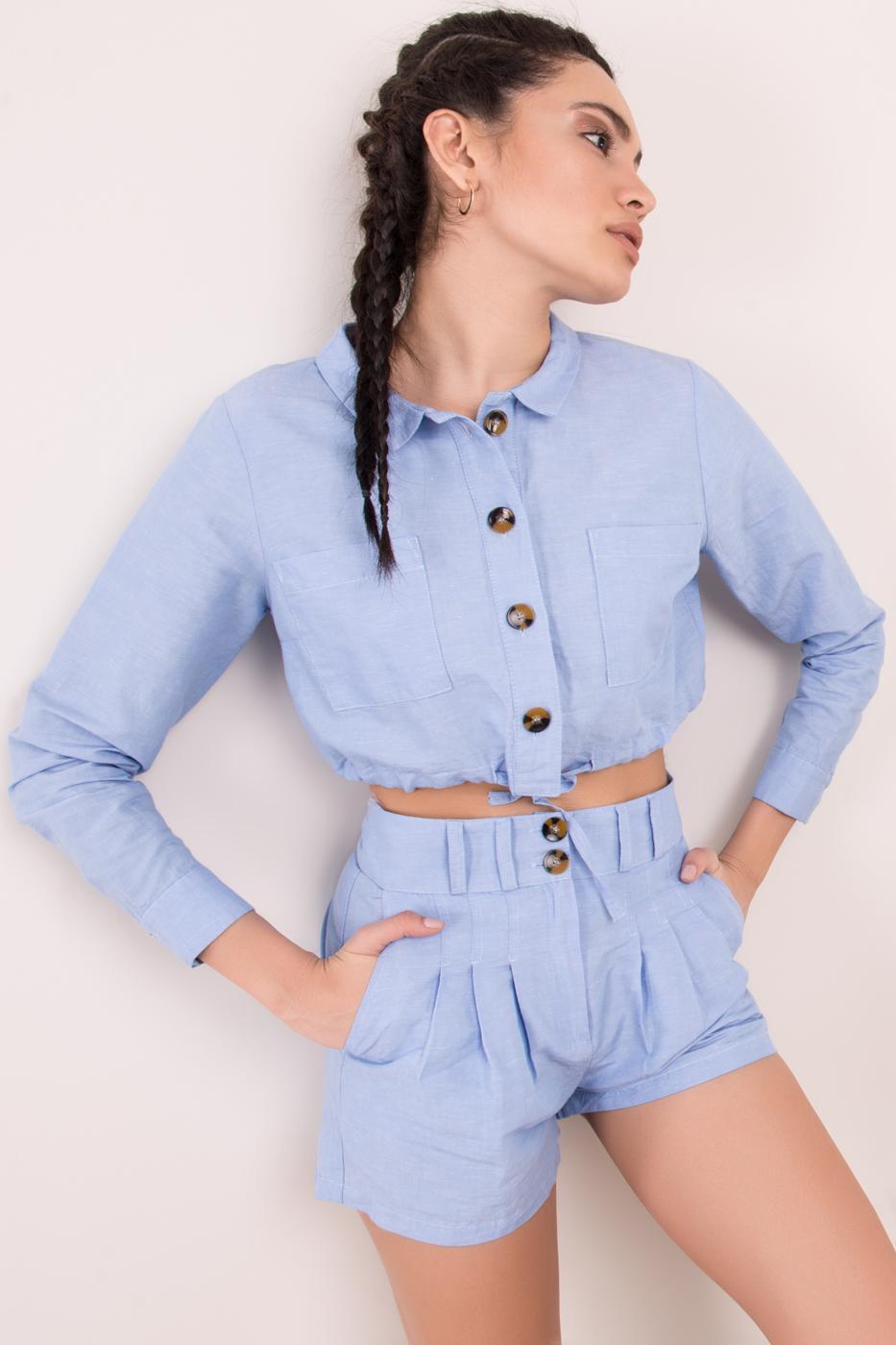 Female Blue Striped Short Jacket