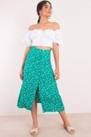 Female Green Front Button Down and Slit Long Skirt