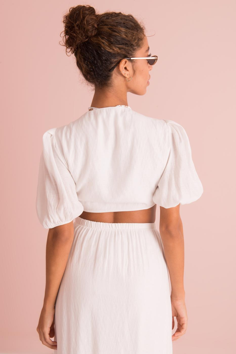 Female White Tie Front Blouse