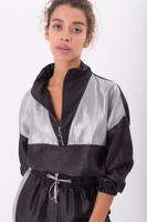 Female Black High Neck Half Zipped Satin Coat