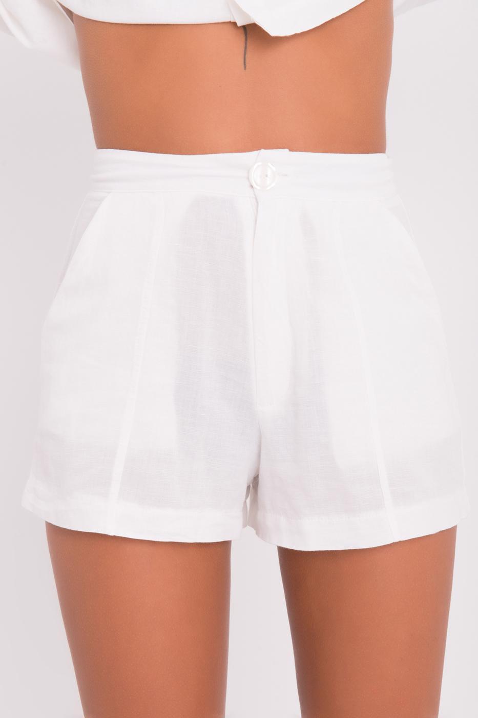 Female Ecru Mini Linen Short  with Pocket