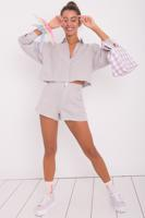 Female Grey Mini Linen Short  with Pocket