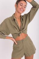 Female Khaki Long Sleeve Linen Crop Shirt