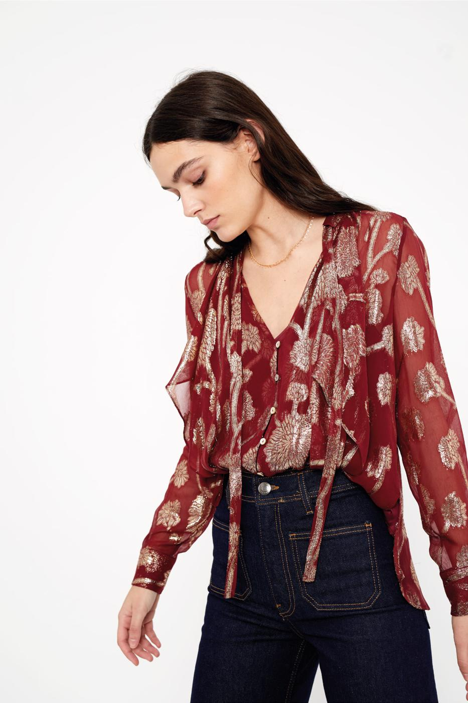 Female BURGUNDY VIETRI BLOUSE