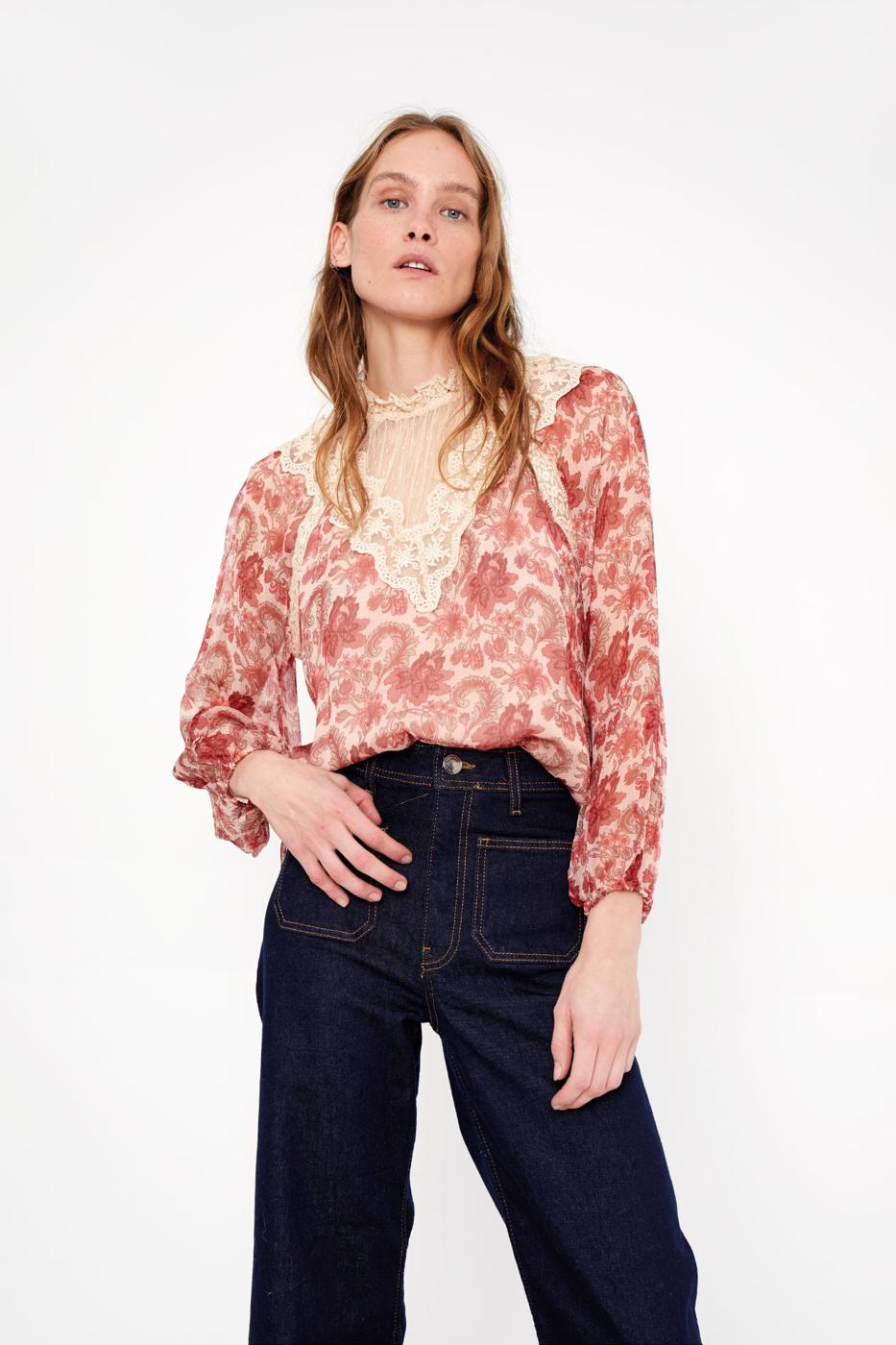 Female BURGUNDY ROMANTICO BLOUSE