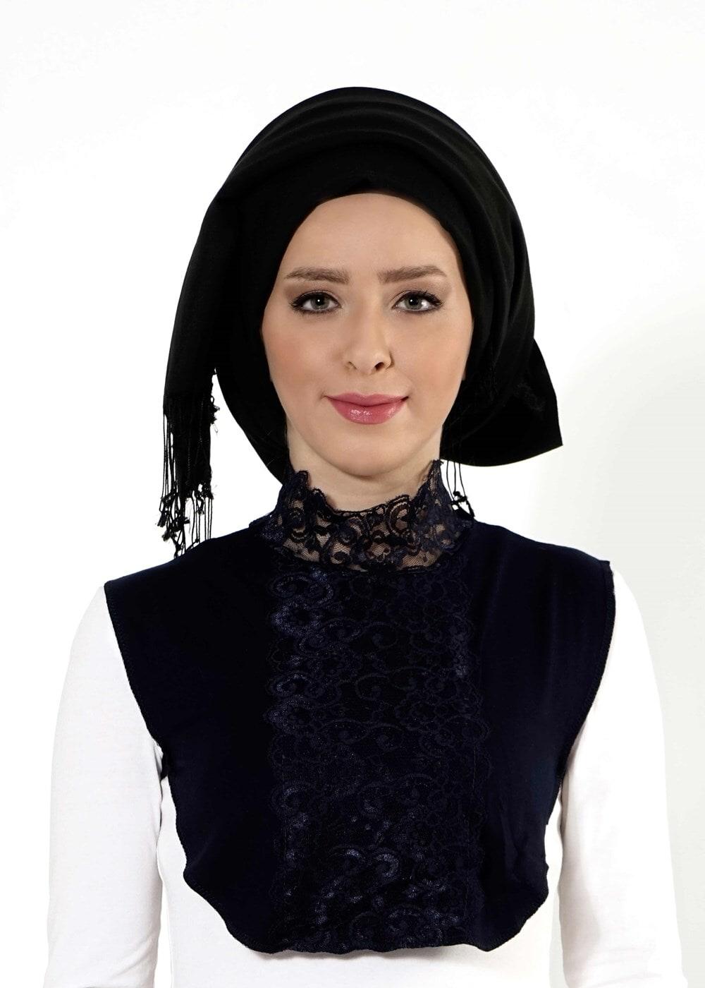 Bayan LACİVERT T 30020 Çiğdem Dantelli Boyunluk