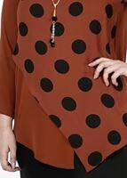 Female CLARET RED POLKADOT ASYMMETRIC CUT BLOUSE 5342