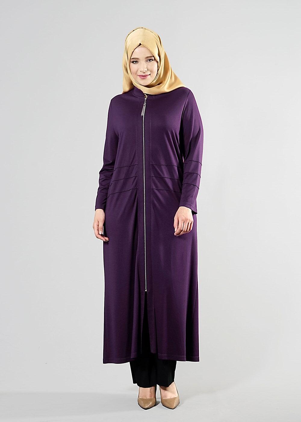 Bayan Mürdüm T 8180 Venezia Tesettür Ferace-Alv Fashion