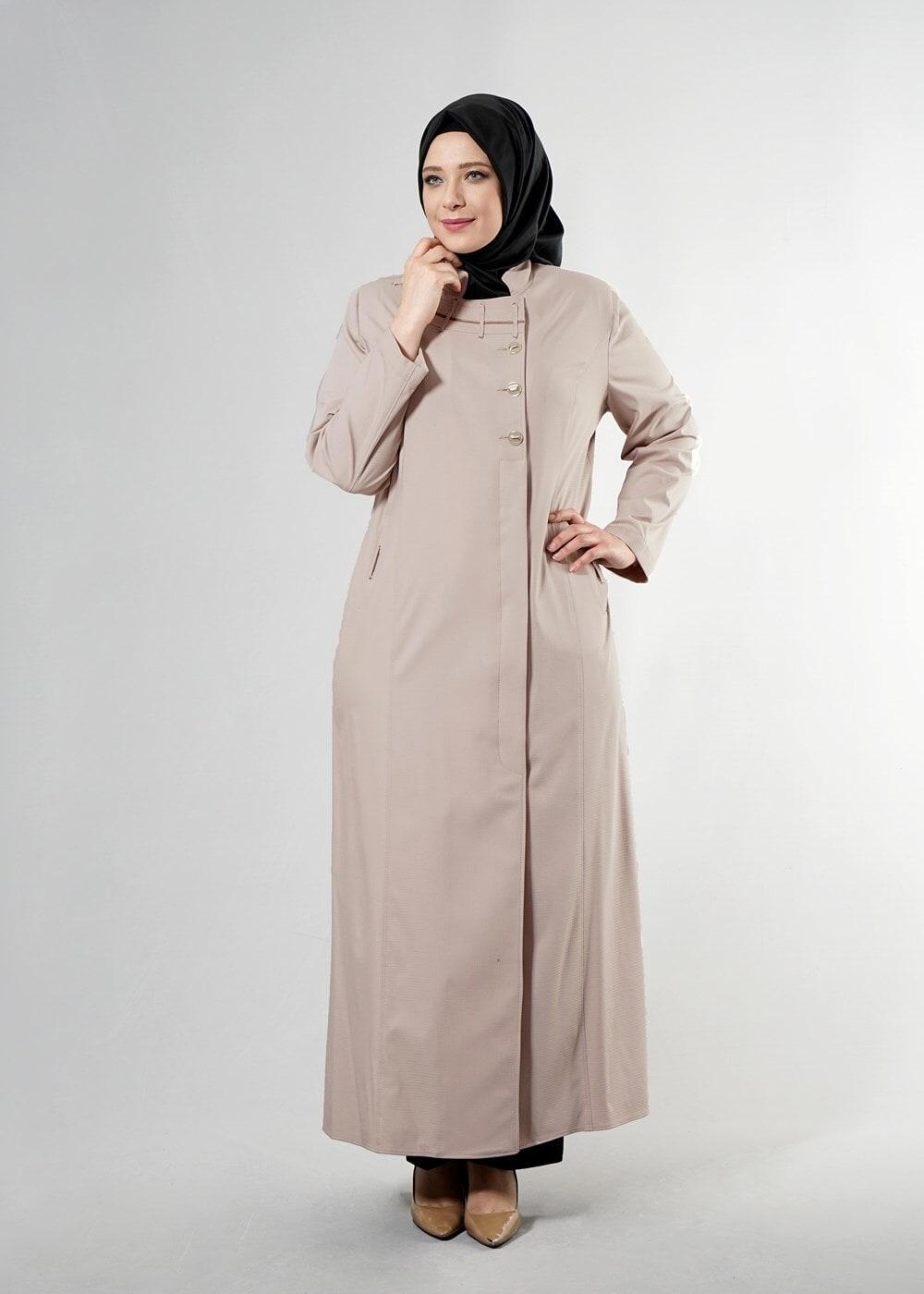 Bayan BEJ T 1514-1 Ekose Tesettür Pardesü-Alv Fashion