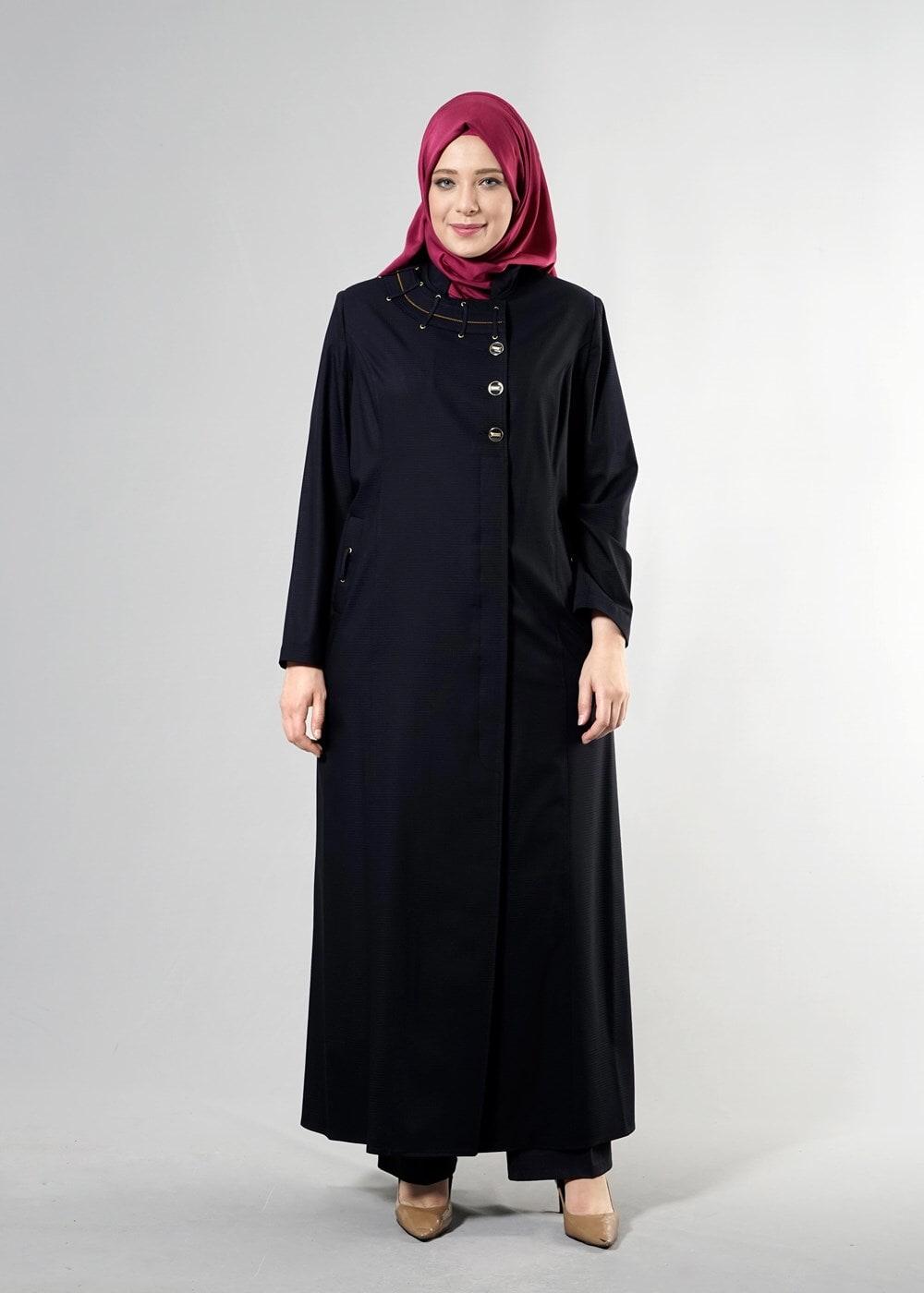 Femelle BLEU MARINE T 1514-1 Ekose Tesettür Pardesü-Alv Fashion