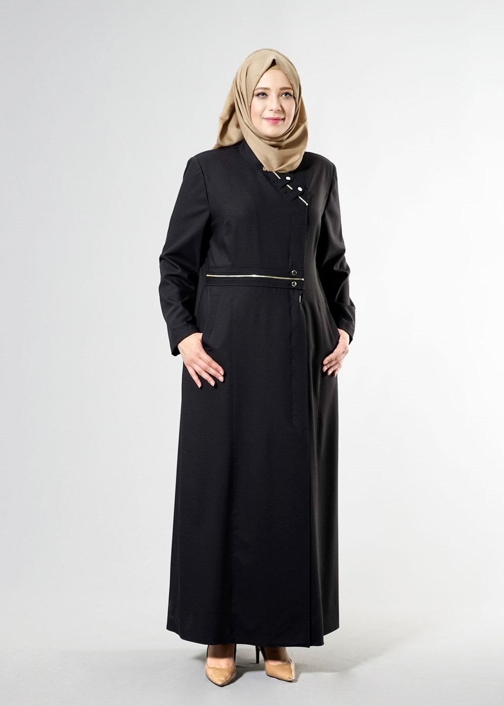 Bayan SİYAH T 1531-1 Deborah Tesettür Pardesü-Alv Fashion