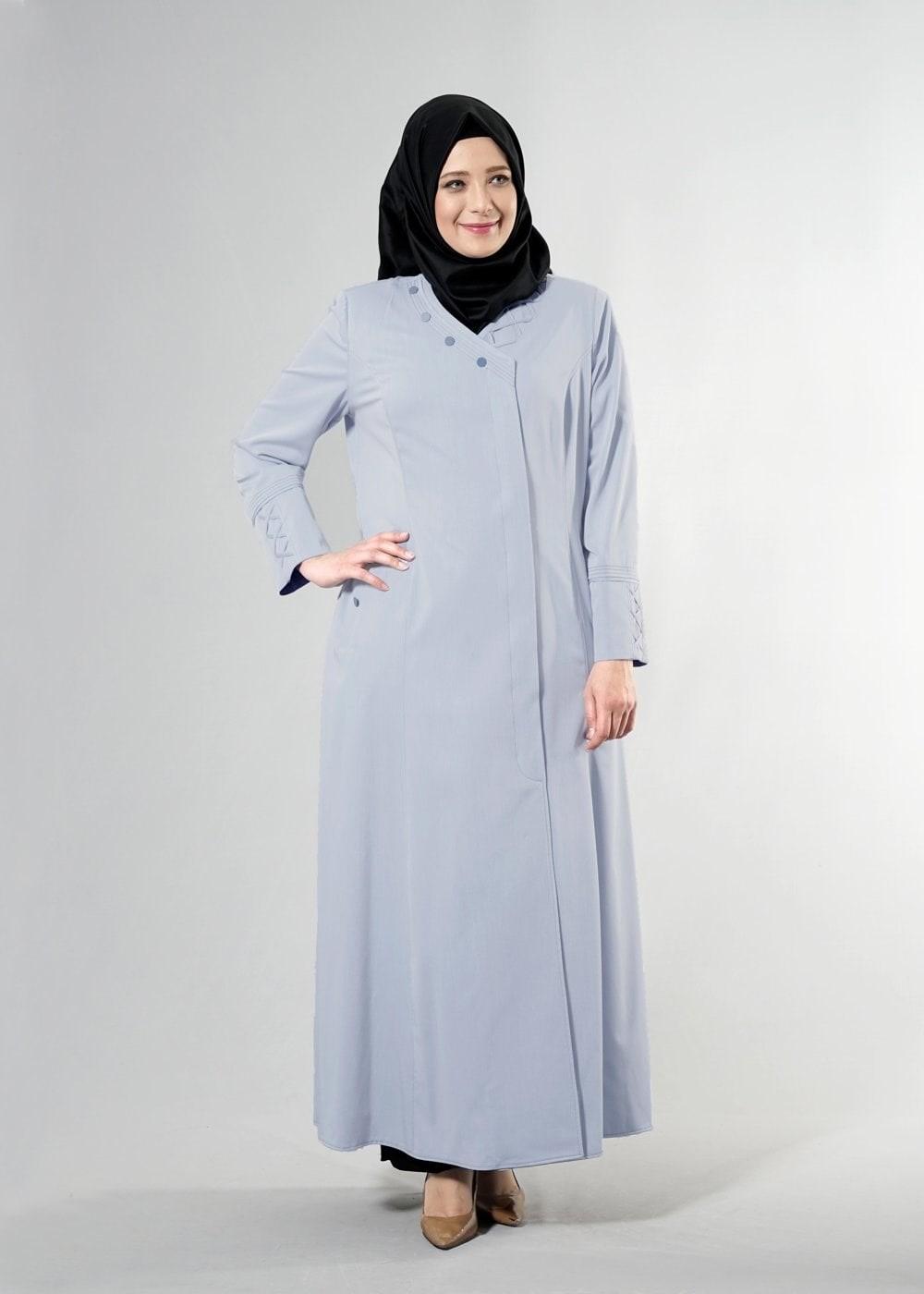 Bayan MAVİ T 1493 Dulce Tesettür Pardesü-Alv Fashion