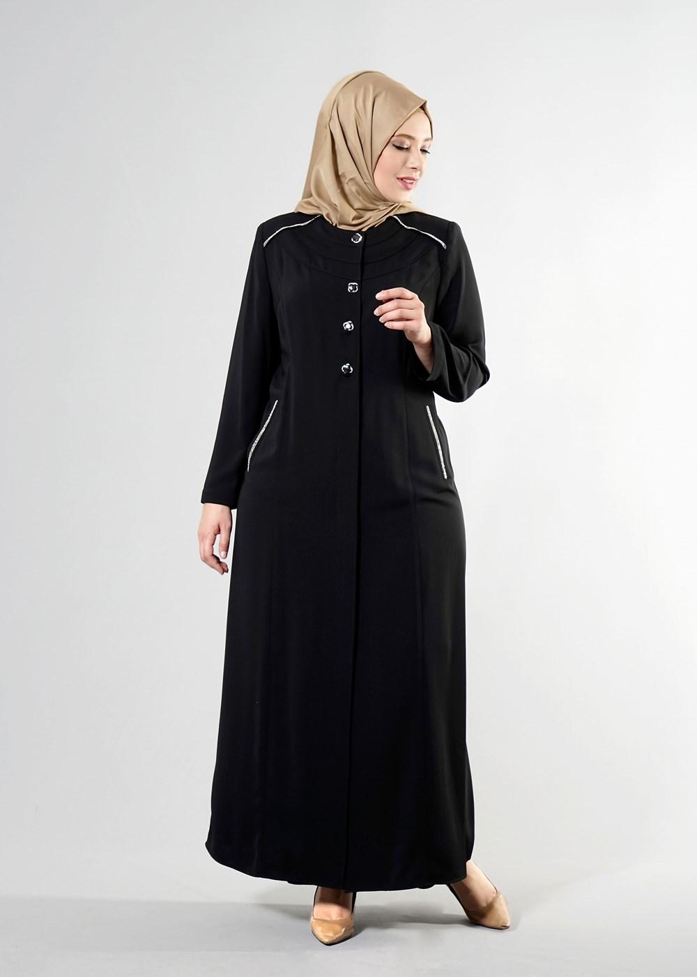 Femelle NOIR T 1533 Farah Tesettür Pardesü-Alv Fashion