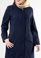 Femelle BLEU MARINE T 1534 New Nice Tesettür Pardesü-Alv Fashion