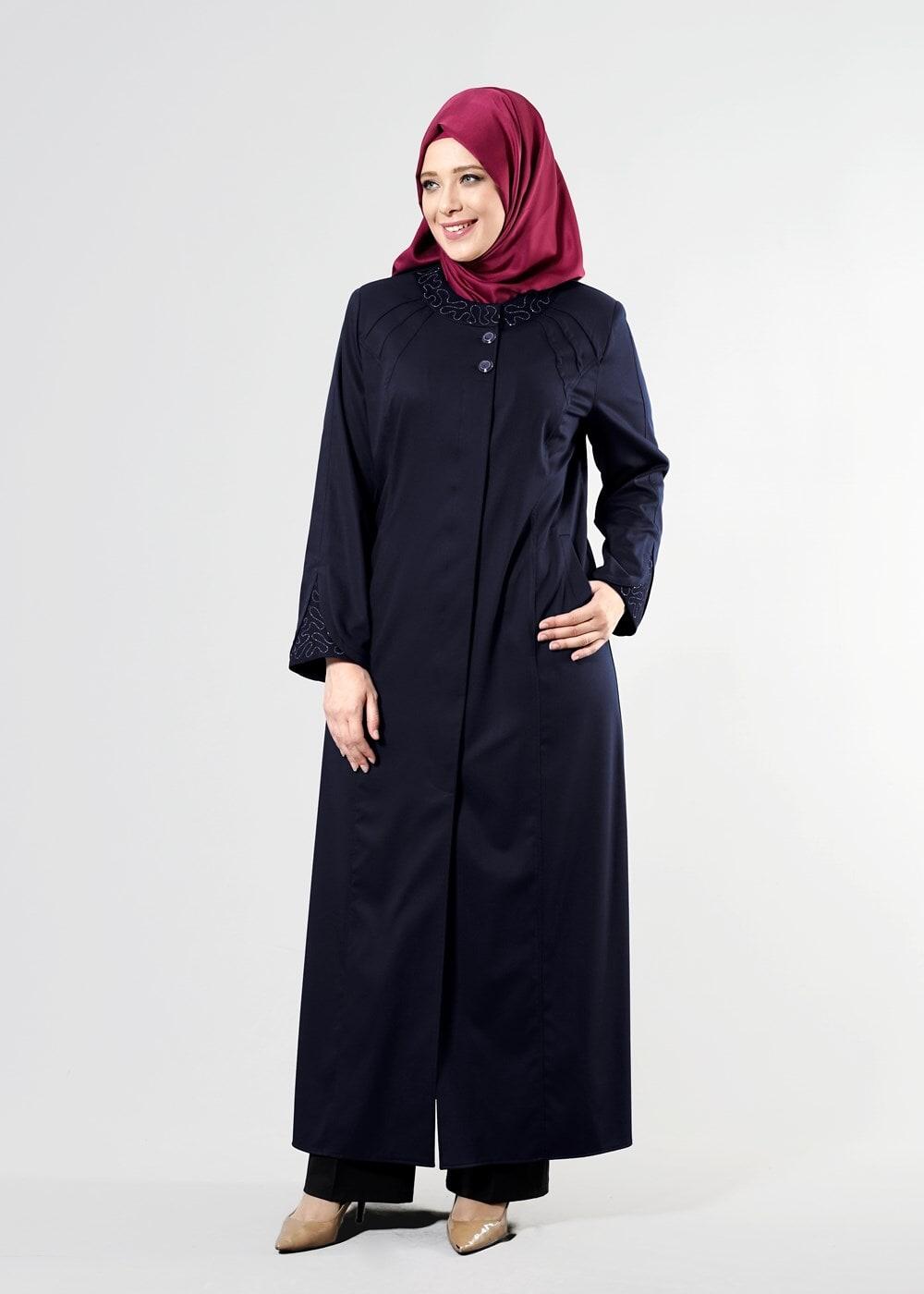 Femelle BLEU MARINE T 1535 İnessa Tesettür Pardesü-Alv Fashion