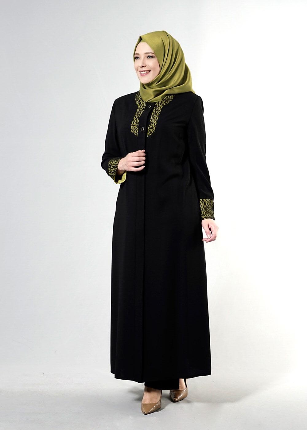 Femelle NOIR T 1581 Sufle Tesetür Pardesü-Alv Fashion