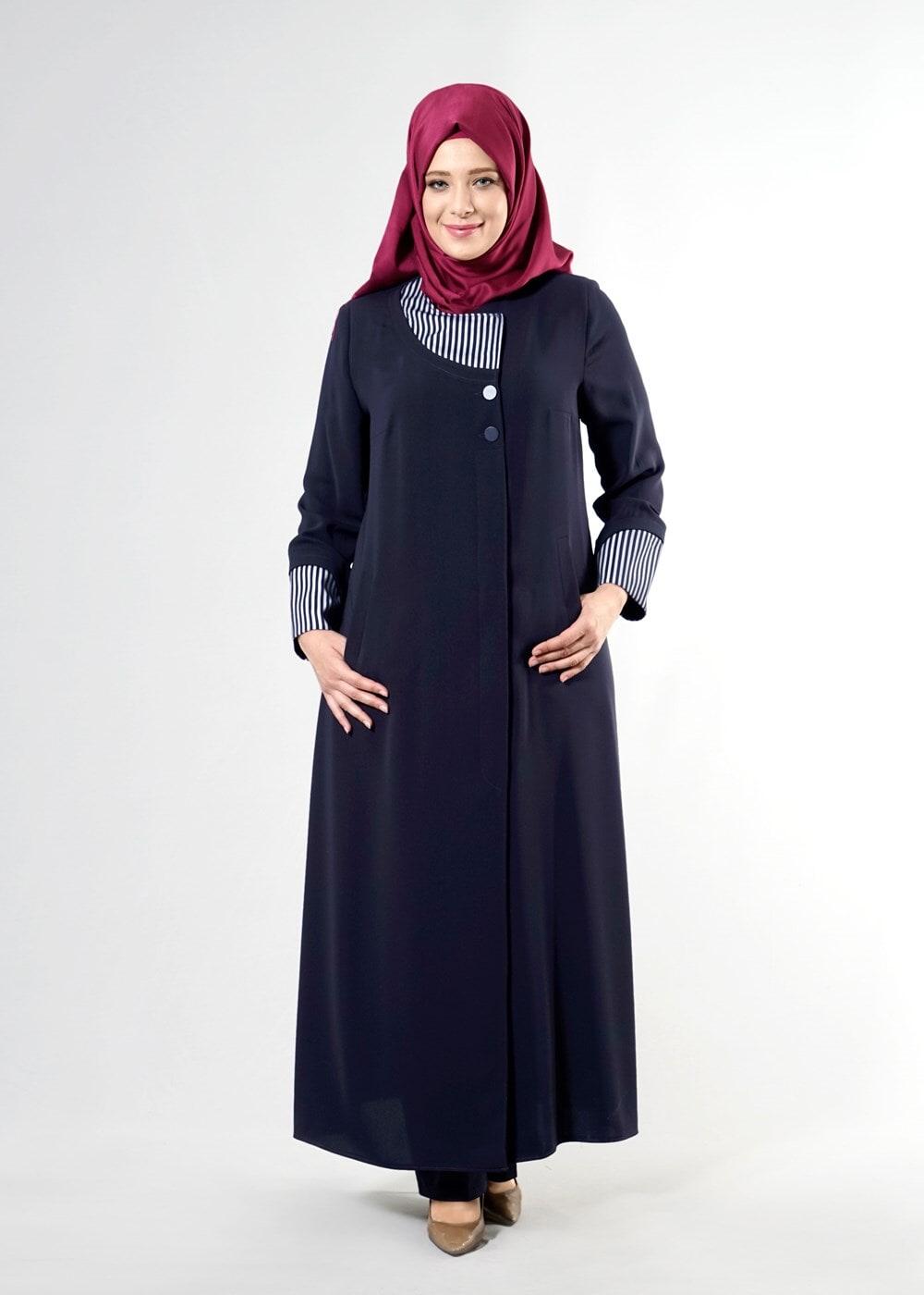 Femelle BLEU MARINE T 1588 Farah Tesettür Pardesü-Alv Fashion