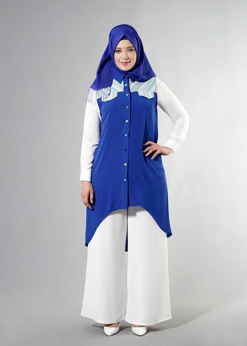 Female NAVY BLUE T 3745 S_VUP Erkek Yaka Yarımkol Yelek