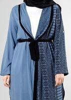 Female NAVY BLUE T 3790 S_VUP  Etnik Desenli Kuşaklı Ceket